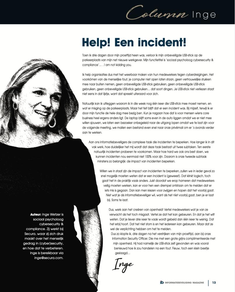 Inge Wetzer Column Helpeenincident