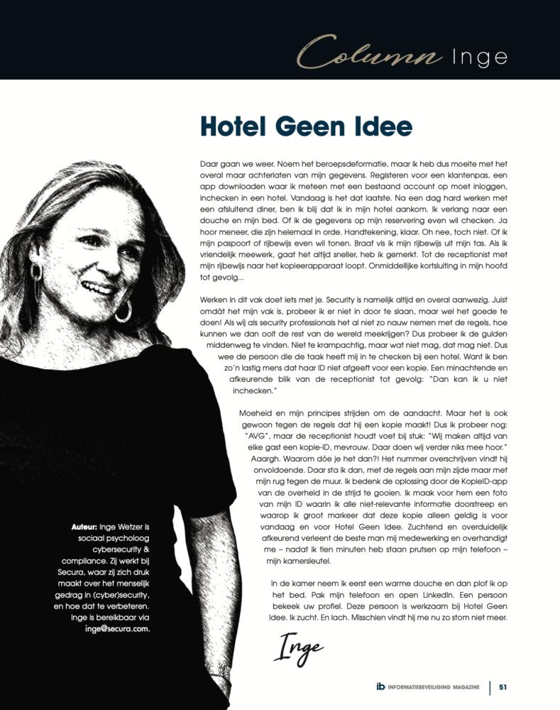 Inge Wetzer Hotel Geen Idee Column Informatiebeveiliging