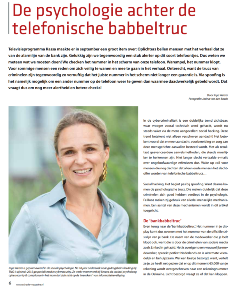 Telefonische babbeltruc Inge Wetzer