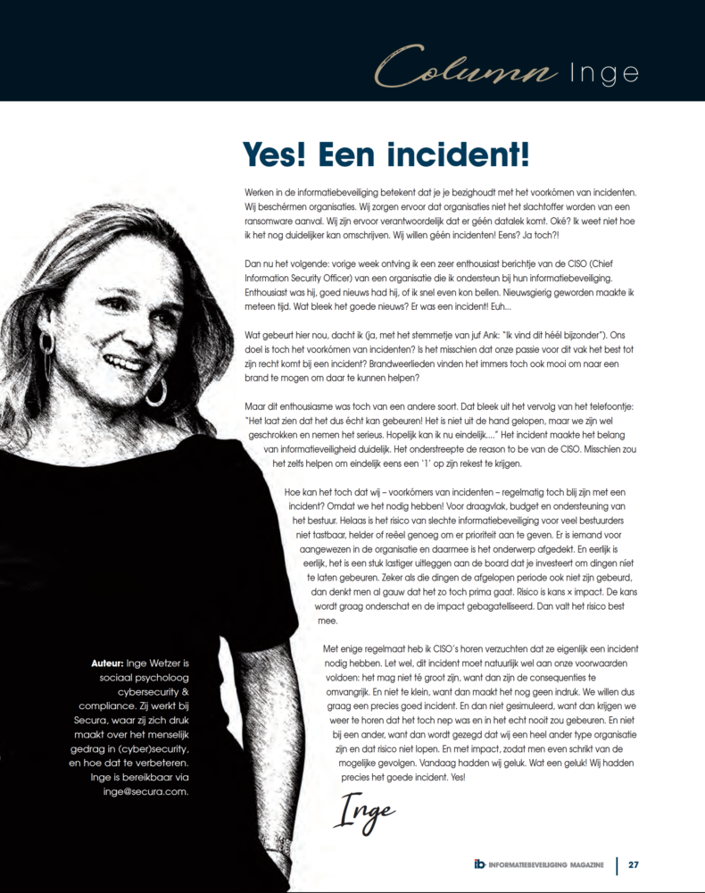 Yes een incident - Inge Wetzer