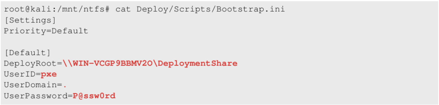 Bootstrap ini file within the image