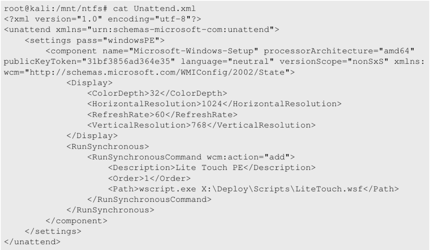 Unattend xml file within the image