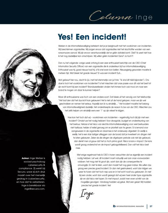 Yes een incident - Inge Wetzer